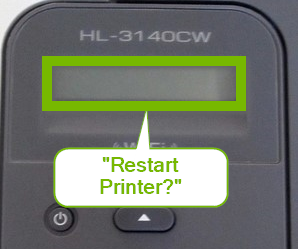 Printer control panel screen displaying Restart Menu.