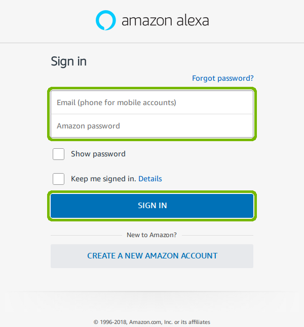 Alexa sign in with Email Password and Sign In button highlighted.