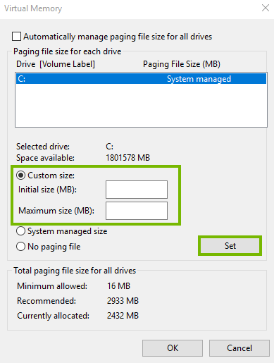 Setting your paging file