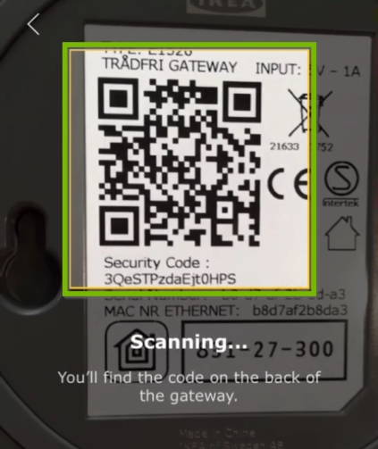 Gateway code scanning area highlighted in IKEA Home Smart app.