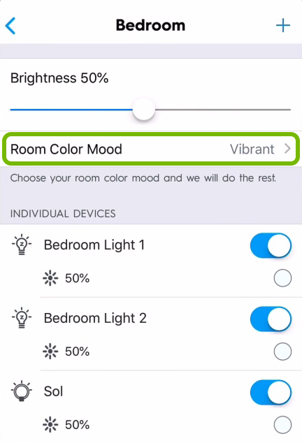 Room Color Mood option highlighted in C by GE app.