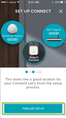August home app page with finalize setup highlighted