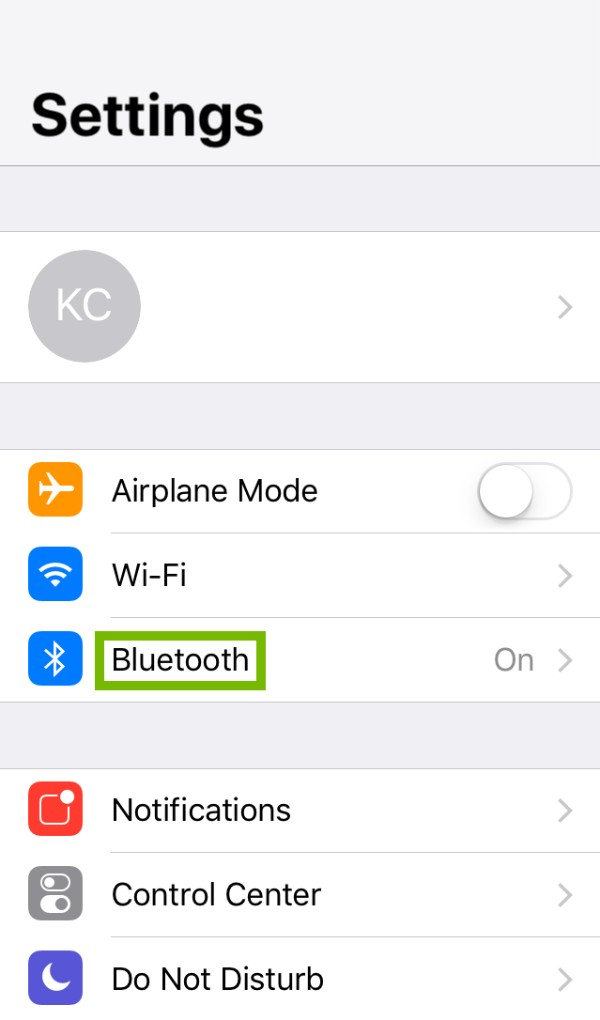 Bluetooth highlighted