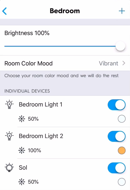 Group of light bulbs in C by GE app.