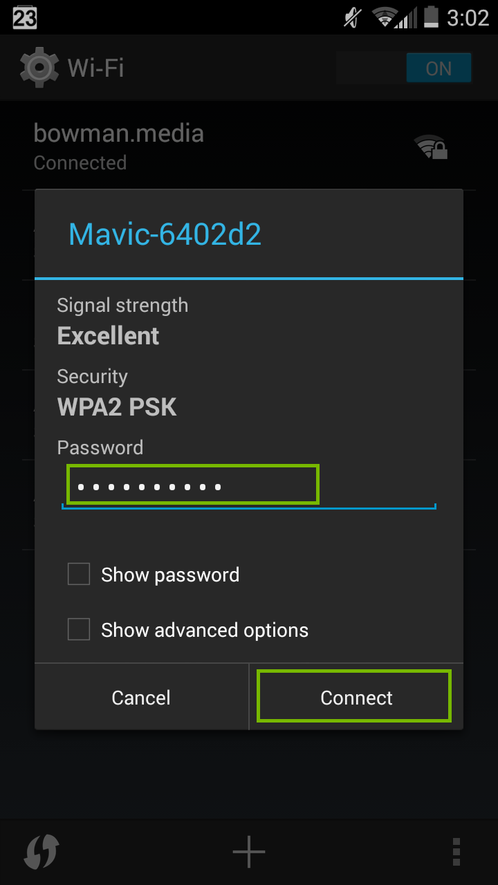Wi-Fi password entry with Connect highlighted.