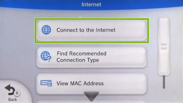 Nintendo Wii U Internet menu highlighting the Connect to the Internet button.