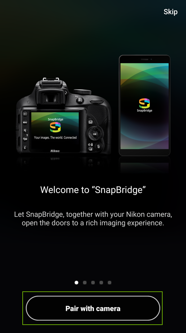 napBridge start screen with pair with camera highlighted.