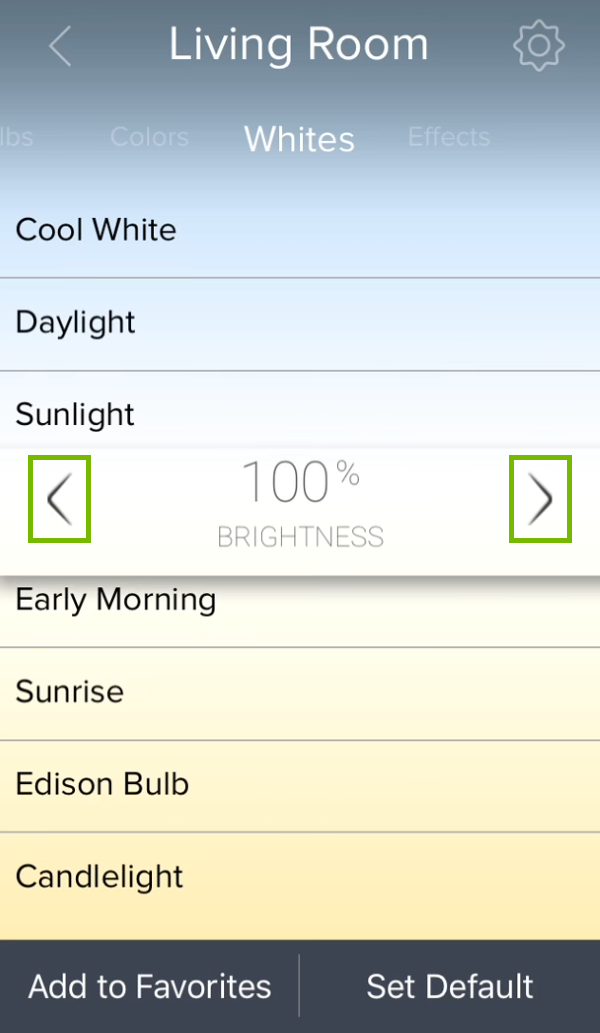 Brightness level control arrows highlighted for white color temperature in ilumi app.