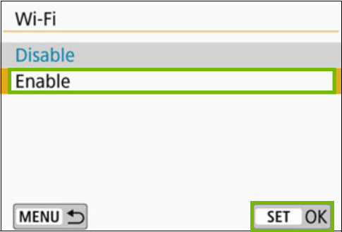 Wi-Fi menu with enable and Set OK highlighted
