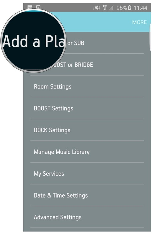Sonos app settings menu highlighting the Add a player or sub button.