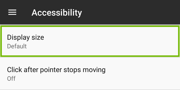 Accessibility settings with Display size highlighted.