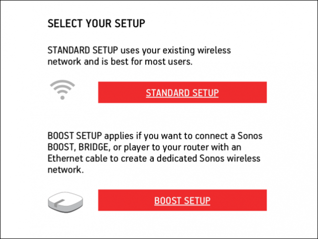 Setup method selection screen.