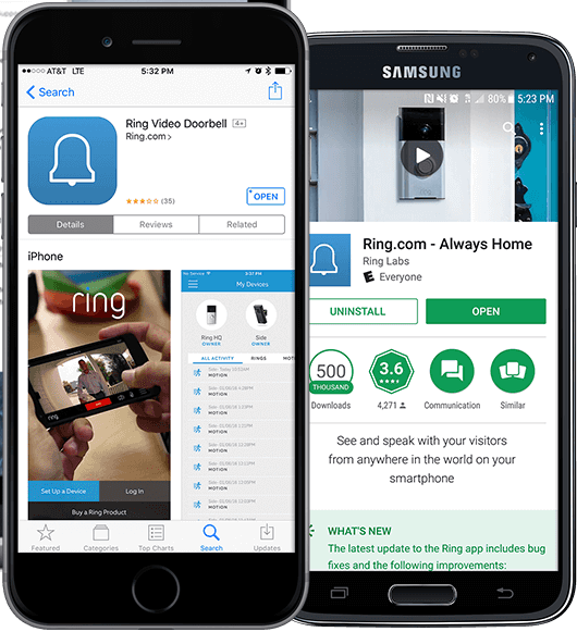 iOS and Android phones showing mobile app landing page