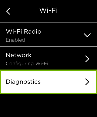 Diagnostics option highlighted in Wi-Fi settings.