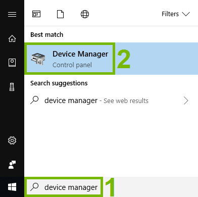 Search field and search result highlighted in Windows start menu.