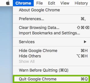 Chrome menu with Quit Google Chrome highlighted.
