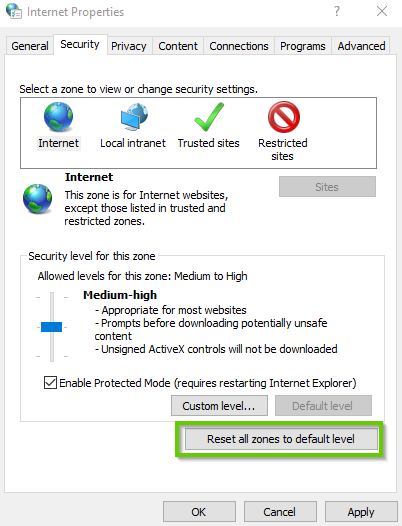 Windows 10 internet settings showing reset all zones to default