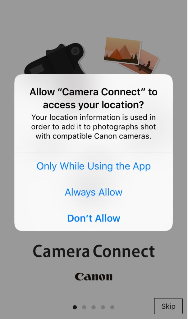 Camera Connect would like to access your photos notification