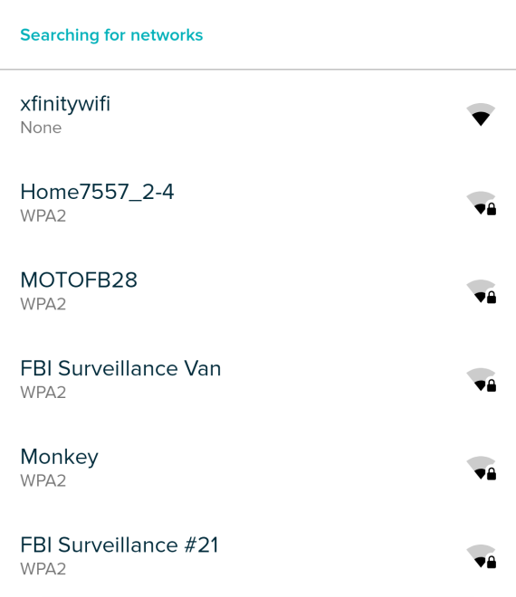 WiFi network list showing in Fitbit app.