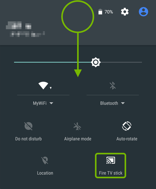 Swipe method and Cast symbol highlighted on Android screen.