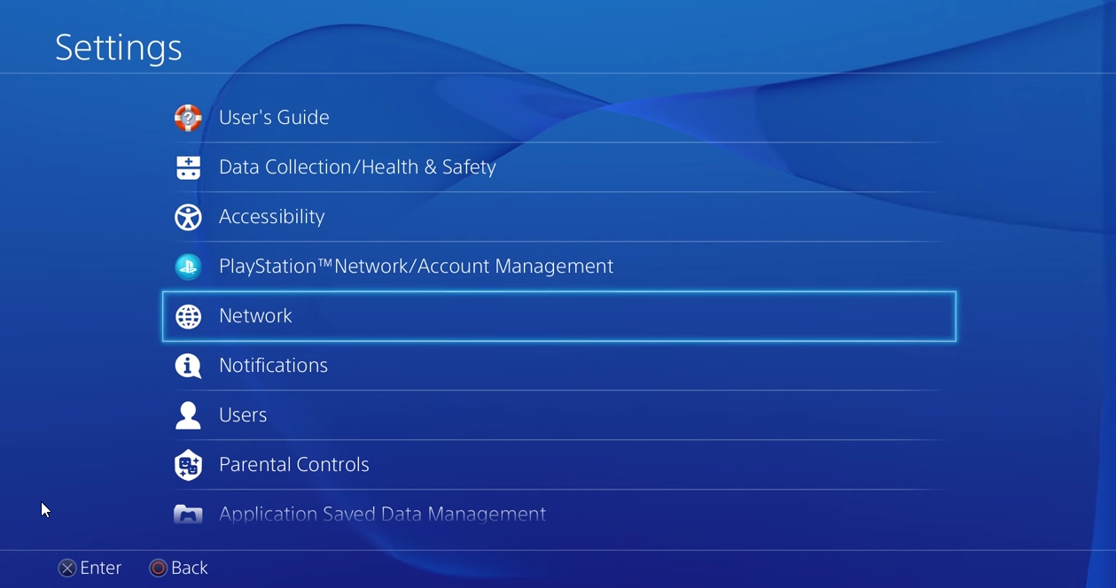 PS4 settings with network selected