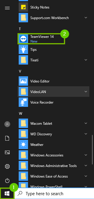 TeamViewer in the start menu