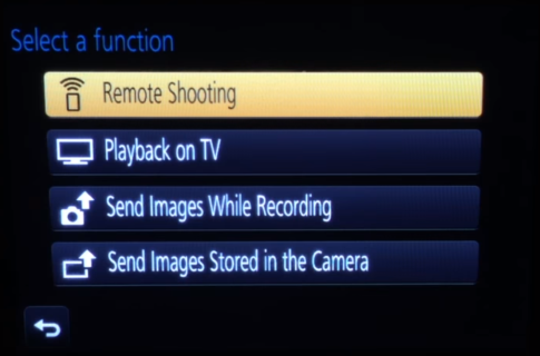 Camera Wi-Fi setup function selection screen