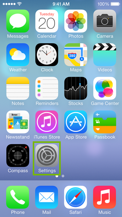 iOS main screen with Settings icon highlighted.