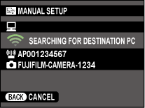 Camera searching for destination PC.