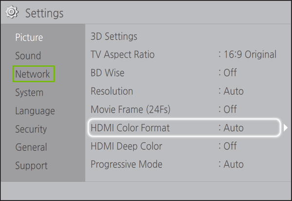 settings with network highlighted