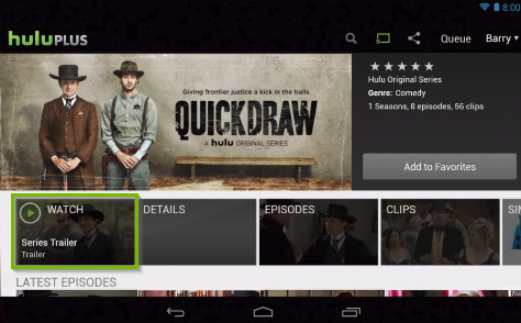 Hulu app highlighting a show being selected to watch.