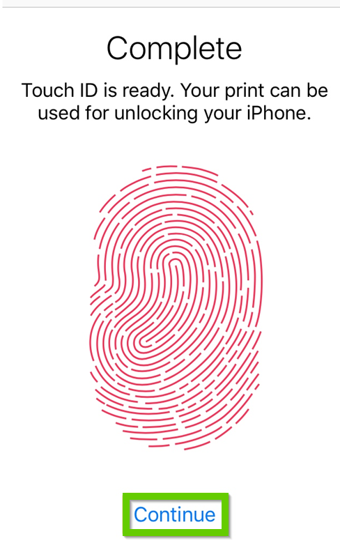 iOS touch ID complete