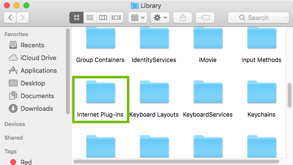 Library folder with Internet Plug-Ins highlighted.