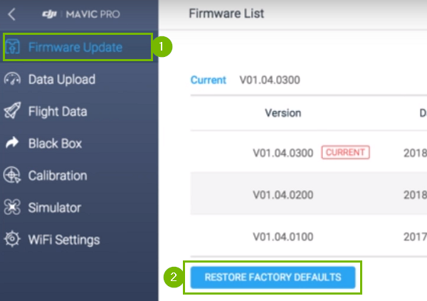 DJI Assistant program with Firmware update and restore factory defaults highlighted. Screenshot
