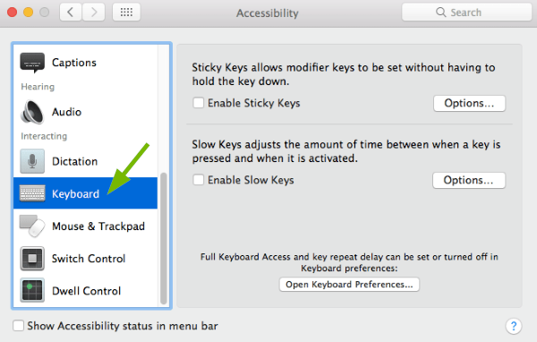 Keyboard option pointed out in Accessibility Preferences in macOS.