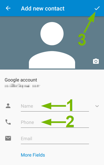New Contact entry screen on Android.
