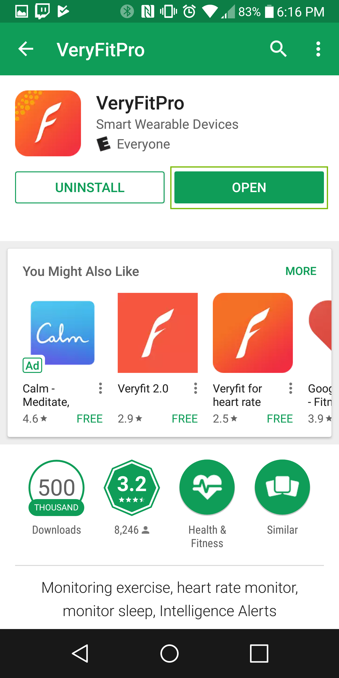 Veryfitpro app page with open highlighted