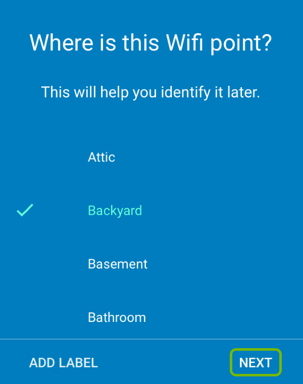 Additional Google Wifi point label selection screen with Next option highlighted.