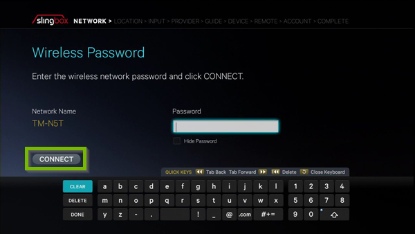 Connect option highlighted on password entry screen.