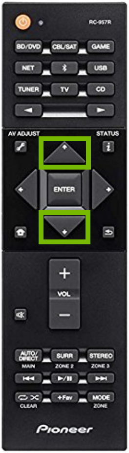 Remote control with the up and down arrows highlighted