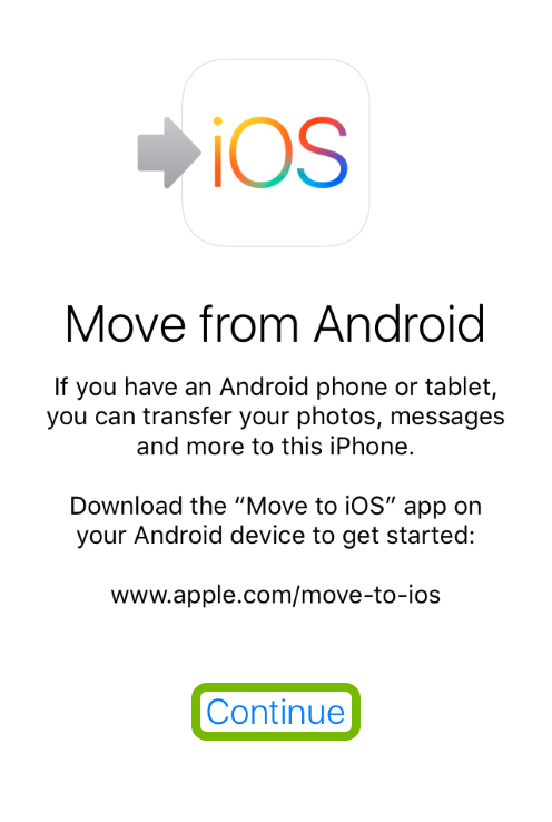 Continue option highlighted Move from Android feature of iOS device setup.