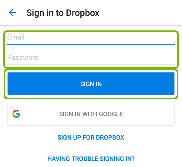 Dropbox Sign in with email, password, and sign in button highlighted.