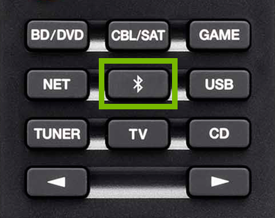Bluetooth button highlighted on remote control.