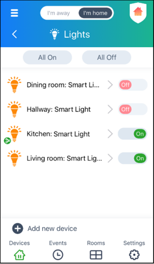 Dashboard for connected Smart Lights