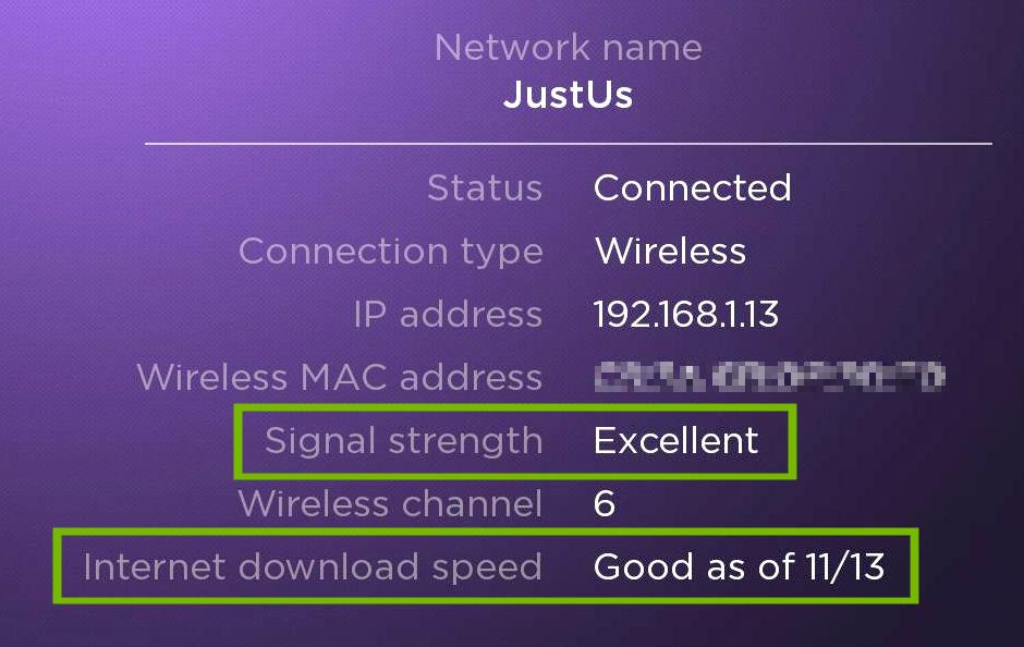 Roku TV network status.