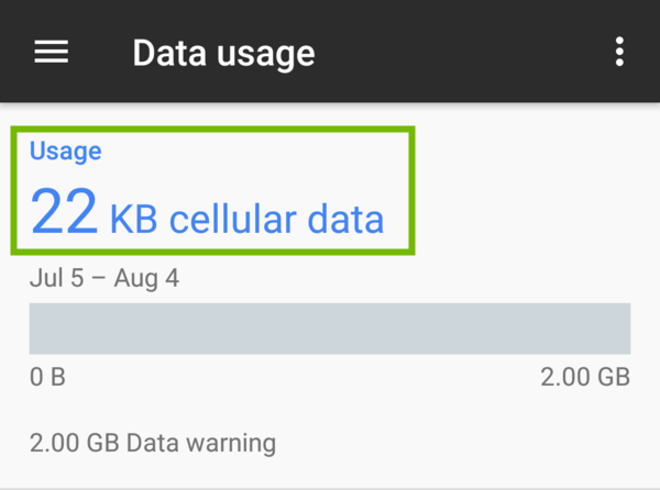 Data usage with usage highlighted.