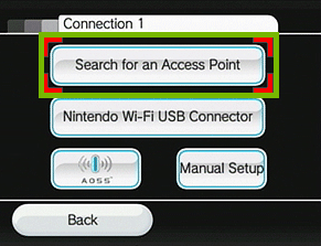 menu with search for an access point highlighted
