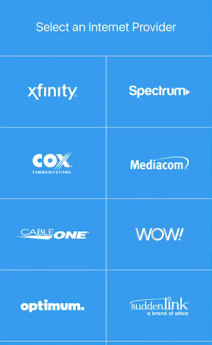 ISP selection screen in Orbi app.