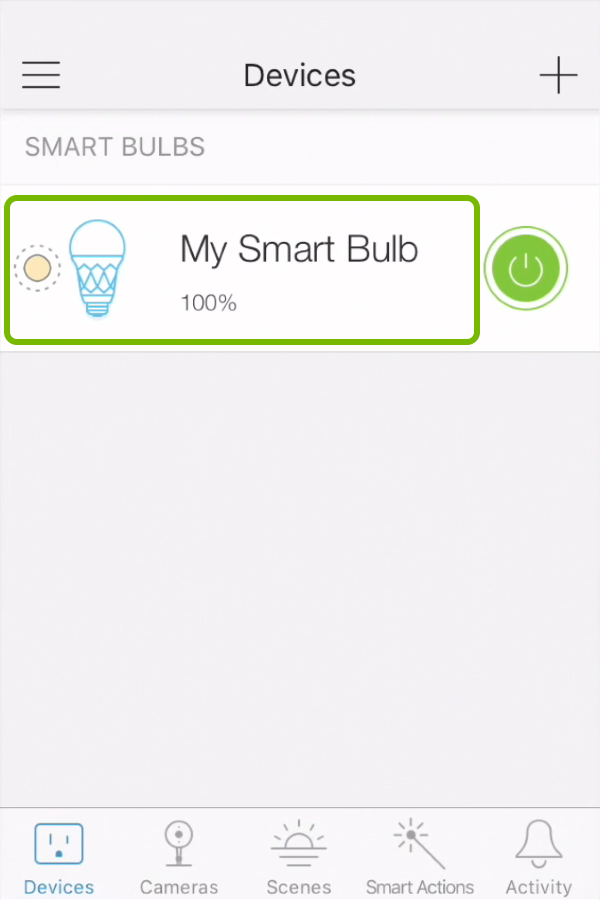 Smart bulb name highlighted in devices list of Kasa app.