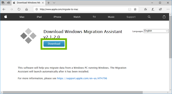 Migration Assistant for Windows Download Page with Download button highlighted.